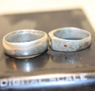 Lot 2 Silver Original ancient ring artifact intact original patina 6.3g 2
