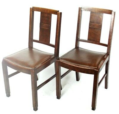 Art Deco pair of Oak Wood Dining Chairs | Patina - PRICE IS FOR PAIR [PL2033B] 3