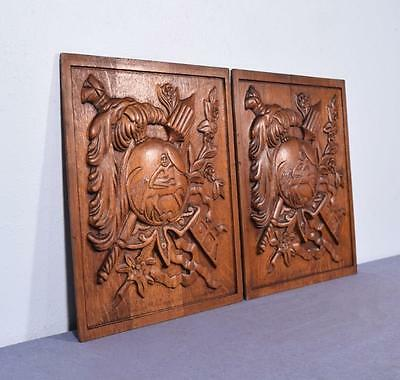 *Pair of Vintage French Carved Solid Oak Panels Arts Themed with Centaur 3 3