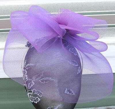 purple feather fascinator millinery burlesque headband wedding hat race ascot 2