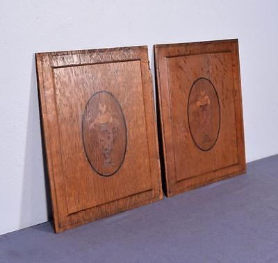 *Pair of Antique French Inlaid Marquetry Solid Oak Panels with Urns 3