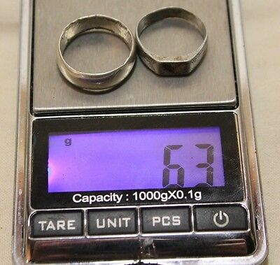Lot 2 Silver Original ancient ring artifact intact original patina 6.3g 5