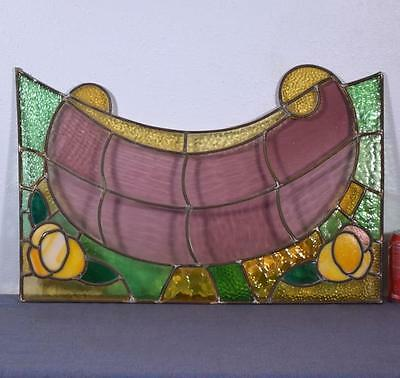 *Antique French Stained Glass Panel with Leaded Glass 2