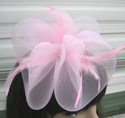 baby pink fascinator millinery feather brooch clip wedding hair piece ascot 1 3
