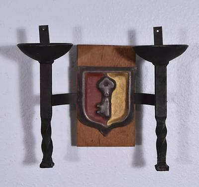 *Pair of Vintage French Wrought Iron and Oak Primitive Wall Sconces 4