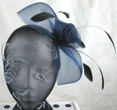 navy blue feather headband fascinator millinery wedding ascot hat hair piece 2