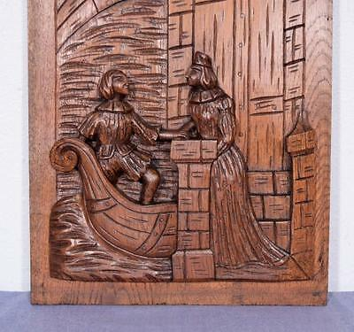 *Large French Antique Deeply Carved Panel Solid Oak with Man and Woman 6