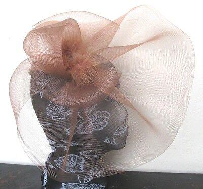 brown tan feather fascinator millinery burlesque headband wedding hat hair piece 3