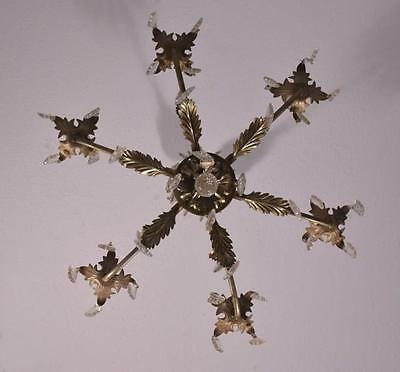 *French Vintage Silver Painted Bronze & Crystal Chandelier/Hanging Lamp 9
