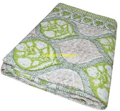 Indian Quilt Handmade Twin Hand Block Print Kantha Throw India Bedspread Gudari