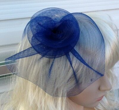 navy blue fascinator millinery feather brooch clip wedding hat bridal ascot race 2