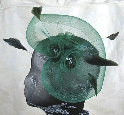 green feather headband fascinator millinery wedding ascot hat hair piece x 3