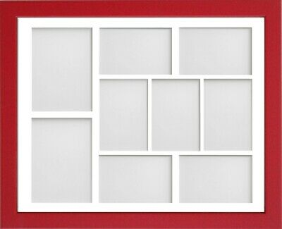Frame Company Jellybean Red Wooden Multi Aperture Collage Photo frame & Mount 9