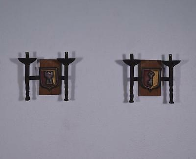 *Pair of Vintage French Wrought Iron and Oak Primitive Wall Sconces 2