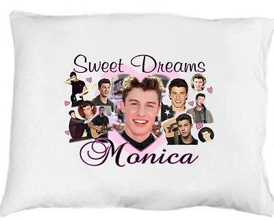 """Personalized SHAWN MENDES PILLOWCASE #4 /""""Sweet Dreams/"""" Photo Collage Any NAME"""