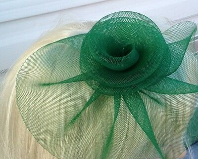 green fascinator millinery feather brooch clip wedding hat bridal ascot race 3