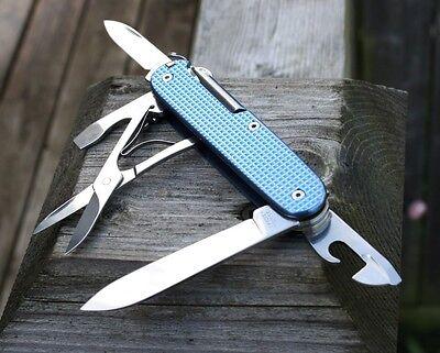 CUSTOM ALOX BLUE Textured Titanium Super Tinker Swiss Army Knife Mod