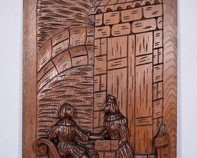 *Large French Antique Deeply Carved Panel Solid Oak with Man and Woman 5