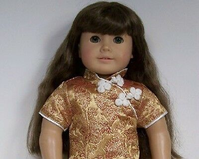 Christmas Cream Gold ANGEL Costume Dress Doll Clothes For 18 American Girl Debs