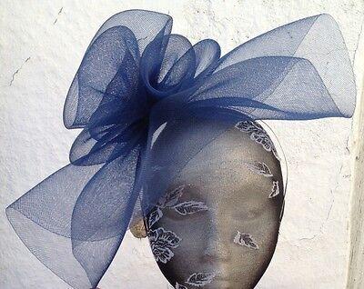 navy blue fascinator millinery burlesque wedding hat ascot race bridal british 3
