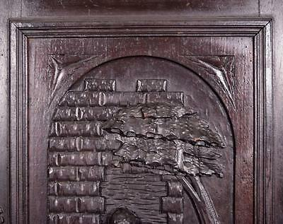 *Large French Antique Deeply Carved Architectural Panel Door Solid Oak Romantic 5