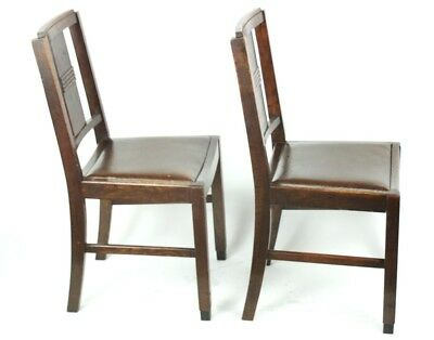 Art Deco pair of Oak Wood Dining Chairs | Patina - PRICE IS FOR PAIR [PL2033B] 6