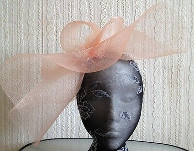 nude peach coral feather headband fascinator millinery hat wedding ascot race 2