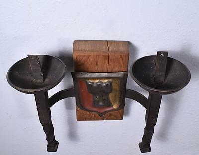 *Pair of Vintage French Wrought Iron and Oak Primitive Wall Sconces 6