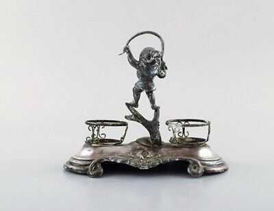 Swedish silversmith. Writing kit/inkwell in silver with elf. 1890's. 2