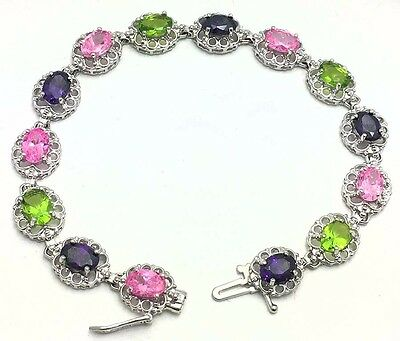 GENUINE Peridots, Amethyst & Pink Sapphires RING, BRACELET & EARRINGS SET 14K