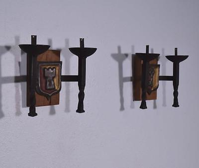 *Pair of Vintage French Wrought Iron and Oak Primitive Wall Sconces 3
