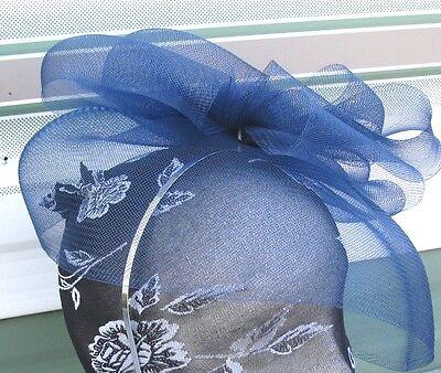 navy blue feather fascinator millinery burlesque headband wedding hat ascot 3