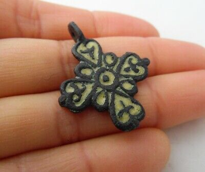 Ancient Viking Bronze Enamel Cross Pendant Kievan Rus XI-XIIc* 3