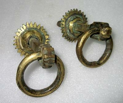 Antique Royal Old Hand Carved Brass Pair of Sun Shape Door Handle/Pulls 2