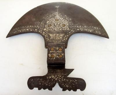 Antique Old Rare Indian Hand Carved Gold Silver Work Fine Big Iron Axe Hatchet