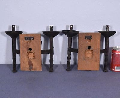 *Pair of Vintage French Wrought Iron and Oak Primitive Wall Sconces 8