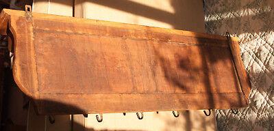 Old French Carved Solid Oak Coat Hat Rack Cherubs Angel Hooks wall shelf Kitchen 4