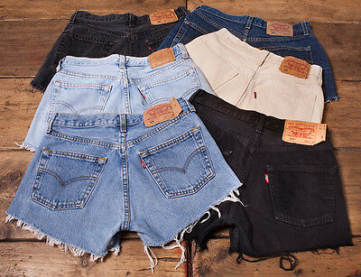 ... Womens Vintage Levis Shorts Denim 501 Grade A High Waisted Size 6 8 10  12 14 ef50700ae02