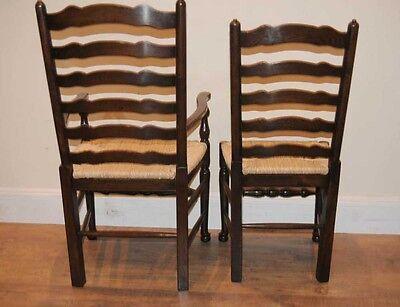 8 Solid Oak Pad Foot Ladderback Kitchen Chairs 5