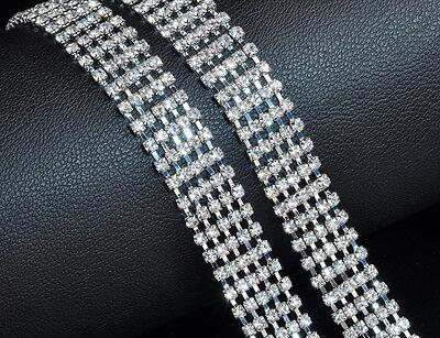 4 riga da Donna Diamante Strass Donna Girovita Catena Fascino Cintura in Silver Diamond