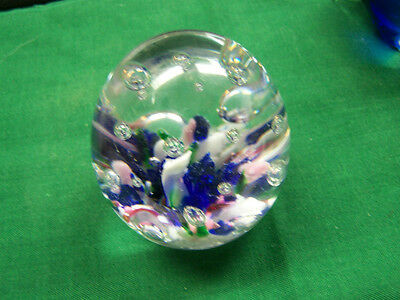 Vintage Gl Paperweight Egg Shaped With Colors Bubbles