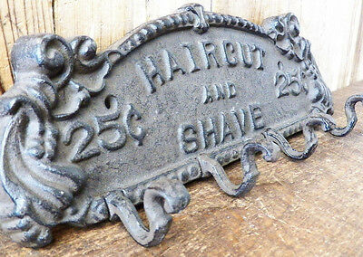 """Cast Iron 13"""" x 4.5"""" SHAVE AND HAIRCUT Coat Hook Rack Key Holder Plaque Hanger 3 • CAD $38.48"""