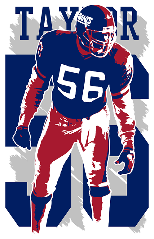pretty nice 13e05 13c90 LAWRENCE TAYLOR ART print/poster NEW YORK GIANTS FREE S&H! JERSEY