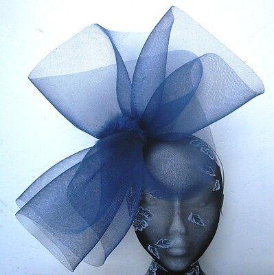 navy blue feather fascinator millinery burlesque headband wedding hat hair 2