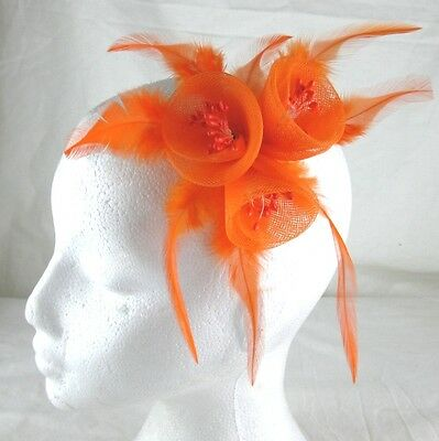 orange fascinator millinery feather brooch clip wedding bridal hair piece ascot 2