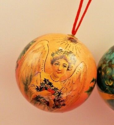 5 Vintage Paper Mache Christmas Ornaments Angel Round balls 5 Set 6