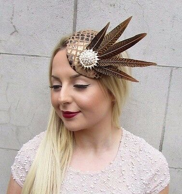 Brown Gold White Pheasant Feather Pillbox Hat Fascinator Hair Clip Races 2610 3