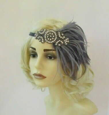 Charcoal Pewter Dark Grey Silver Feather 1920s Flapper Headband Gatsby Deco 7563 5