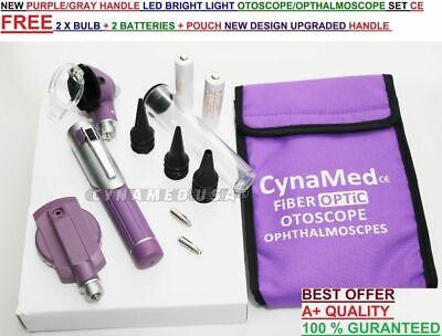 FIBER OPTIC Otoscope Ophthalmoscope  Examination LED Diagnostic ENT SET Kit-Purp 2