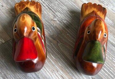 Duck Sculpture, Carved Wood, Hand Painted, Artist Signed, Vintage, Japan